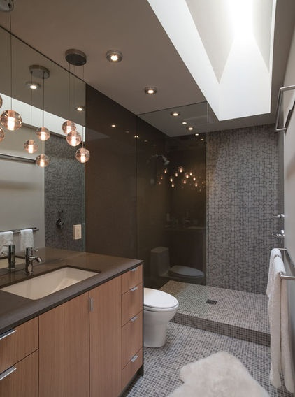 Low maintenance bathroom - Caesarstone was used for the brown walls and countertop in this bathroom. You can use it all by itself or in combination with tile to beautiful effect.