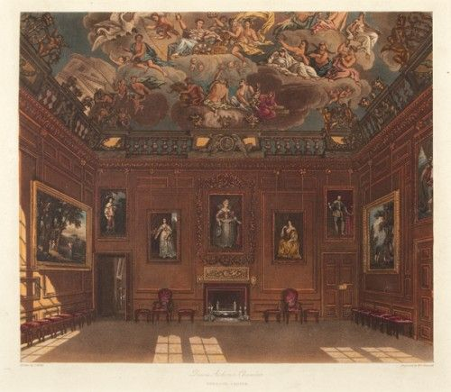 W. J. Bennett after C. Wild. Queen's Audience Chamber, Windsor Castle. Original hand-coloured aquatint for W. H. Pyne's The History of the Royal Residences. London: W.H. Pyne, 1819. #troopingthecolour