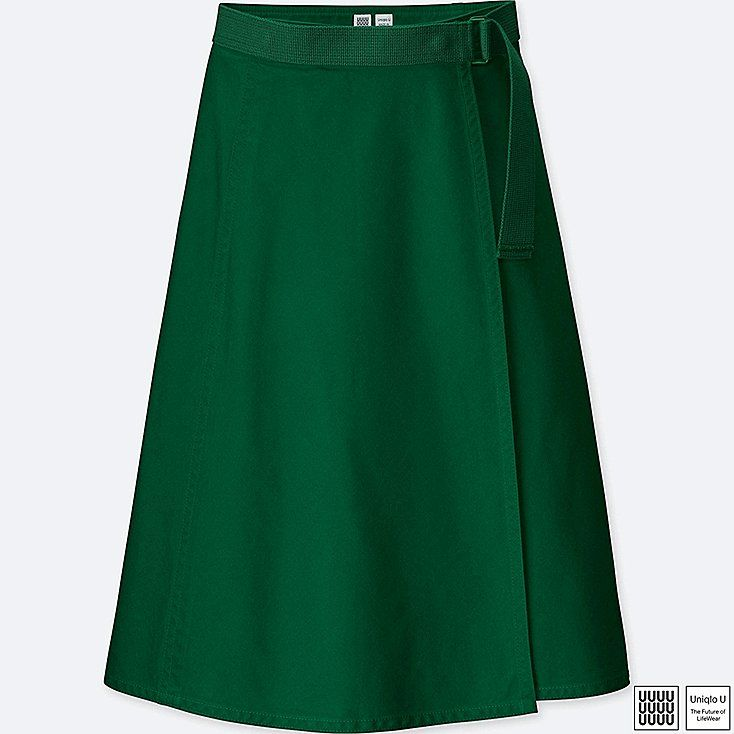 U Belted Skirt in Green (Uniqlo)