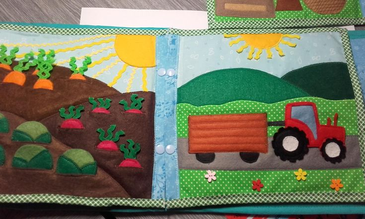 quiet book page - field and tractor