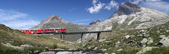 The #Rhaetian #Railway - #UNESCO -  The Rhaetian Railway is a mountain railroad network whose lines connect Italy to Switzerland, via a long labyrinth of wide valleys and mountain passes.  With its two narrow-gauge lines, the railway infrastructure constitutes an engineering, architectonic and administrative feat without comparison, ideal for traversing the impervious mountain terrain. #ItaliaIT #Italy