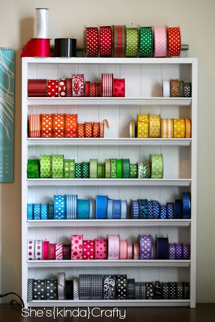 What a beautiful way to store & display ribbons. Includes link to a tutorial for making your own ribbon storage shelf.