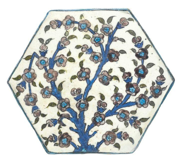An Iznik 'Damascus style' hexagonal tile, Turkey, 16th century   lot   Sotheby's