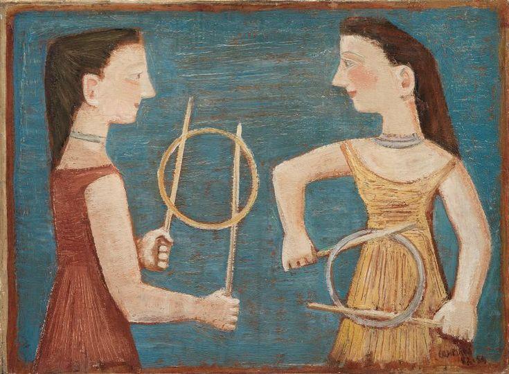 Massimo Campigli - Il gioco del cerchio - Olio su tela - cm. 54x73
