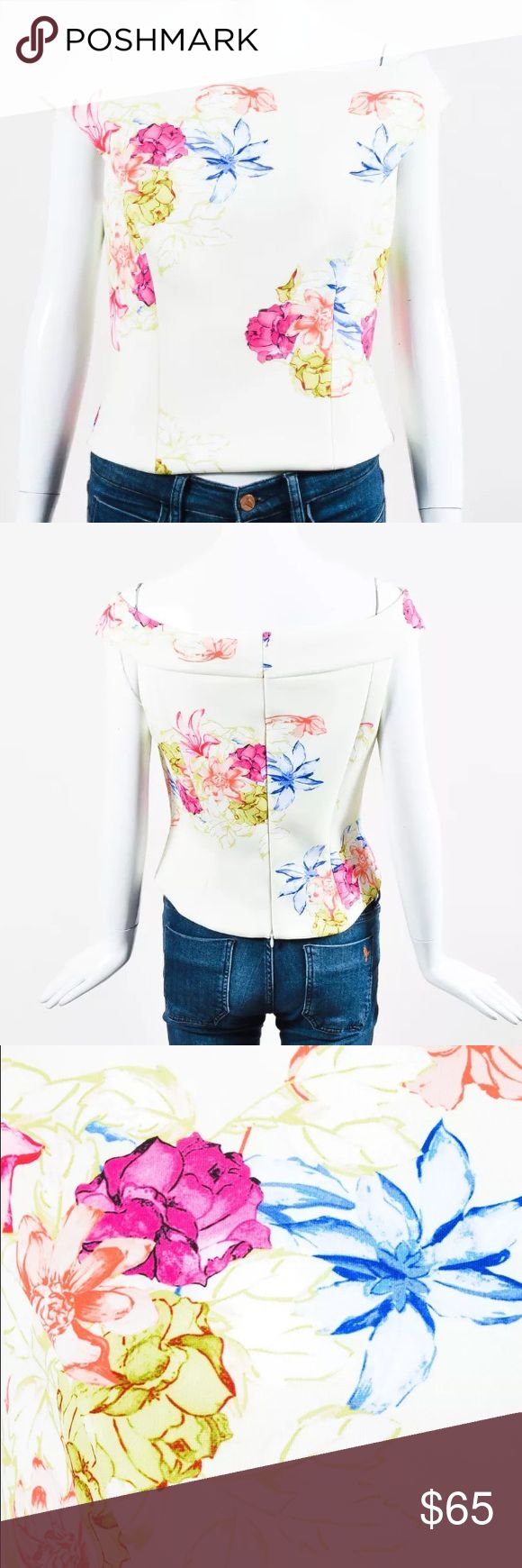 """Kay Unger NWT Neoprene Floral Print Top Kay Unger yellow floral print crop top, featuring a wide boat neckline and style lines throughout. Hidden zip closure. Lined. Measurements*: Total Length: 18.5"""" Shoulder -to- Shoulder: 19"""" Bust: 36"""" Waist: 30"""" Kay Unger Tops"""
