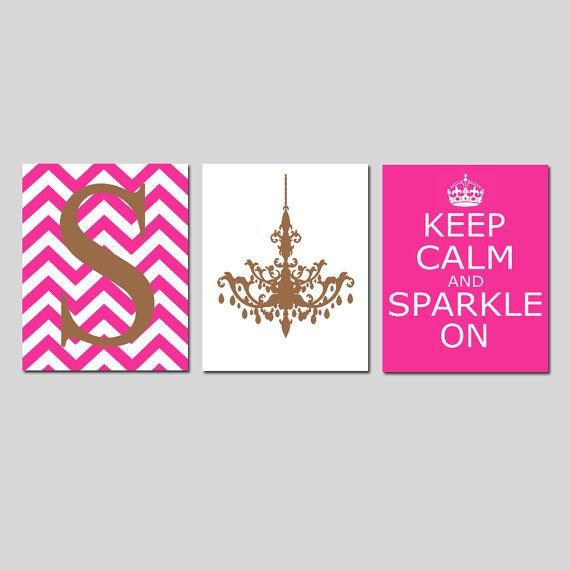 Keep Calm and Sparkle On, Chevron Monogram Initial, Chandelier Trio - Set of Three 8x10 Prints - Choose Your Colors - Teen Girl Bedroom Art on Etsy, $55.00