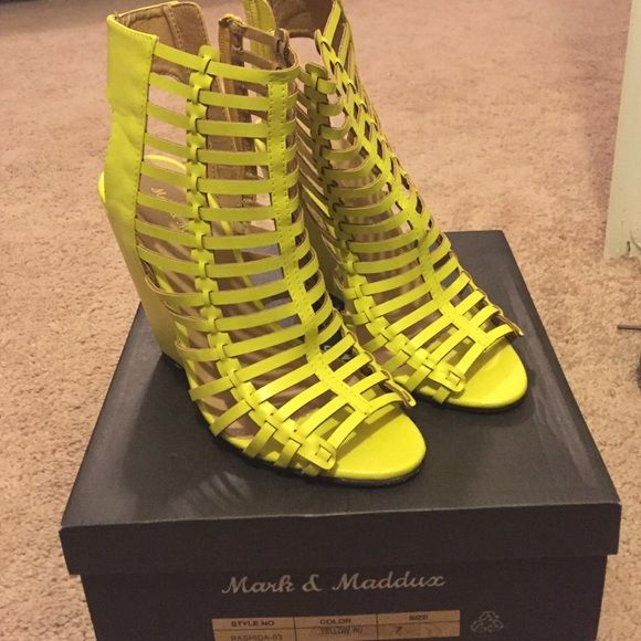 Bright yellow wedges Brand new I never wore them . They are in great condition and there in a box . Shoes Wedges