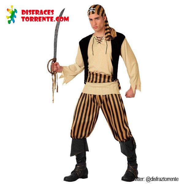 Disfraz de Pirata Corsario hombre. Un disfraz de pirata para hombre en colores negro y dorado, muy elegante y seductor.