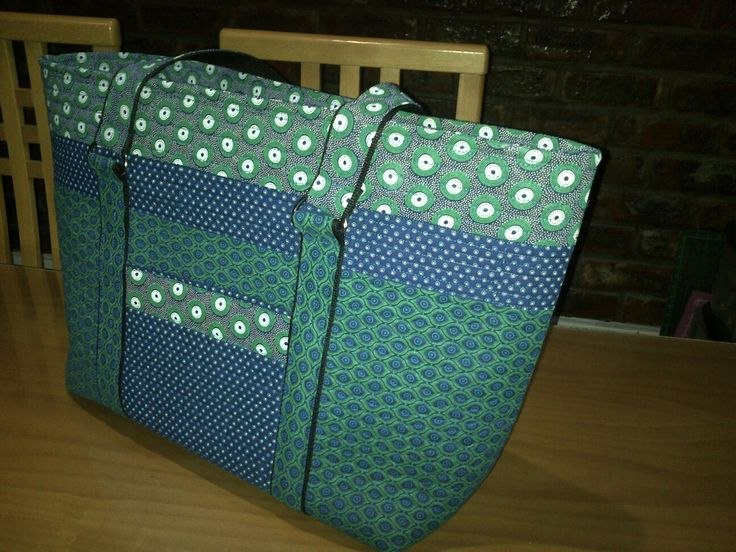 Handmade tote blue and green shweshwe with inset zipper