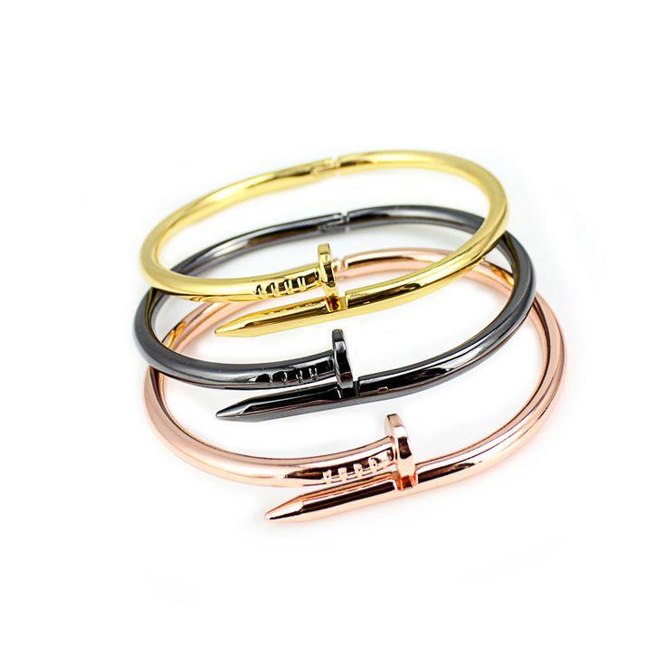 Hot Vite chiodo di Nuovo Modo degli uomini in acciaio inox bracciali e braccialetti in oro rosa nastro ha placcato i braccialetti per le donne degli uomini amanti regalo