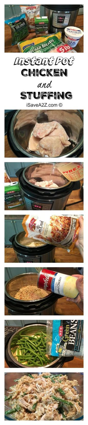 Instant Pot Chicken and Stuffing Recipe - Dinner from FROZEN TO DONE in 18 minutes!!!! iSaveA2Z.com
