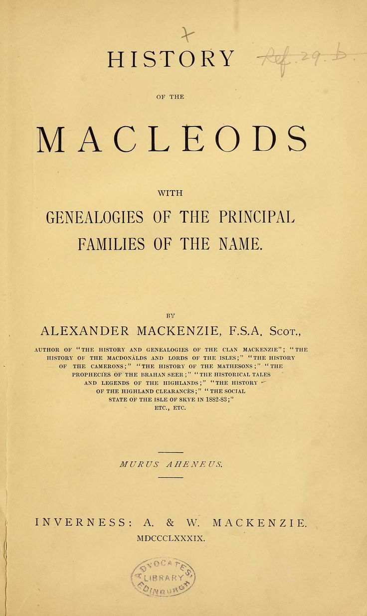 History Of The Macleods With Genealogies Principal Families Name