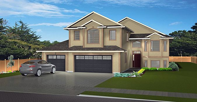 House Plan 2004135 Modified Bi Level With 3 Car Garage By Edesignsplans Ca Unique Floor Plan Dropped Front Unique Floor Plans Foyer Decorating House Plans