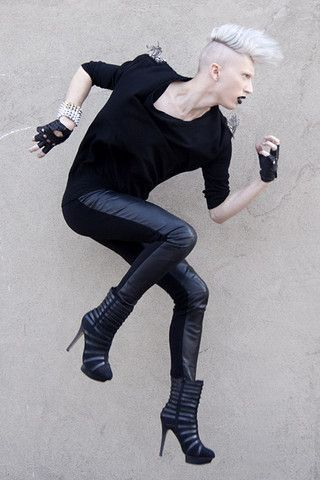 Get this look: http://lb.nu/look/1515759  More looks by Myles Sexton: http://lb.nu/user/627569-Myles-S  Items in this look:  Danier Leather Pants, Danier Finger Gloves, Fashion Crimes Studded Bracelet, Zara V Neck Shirt, Zigi New York Boots