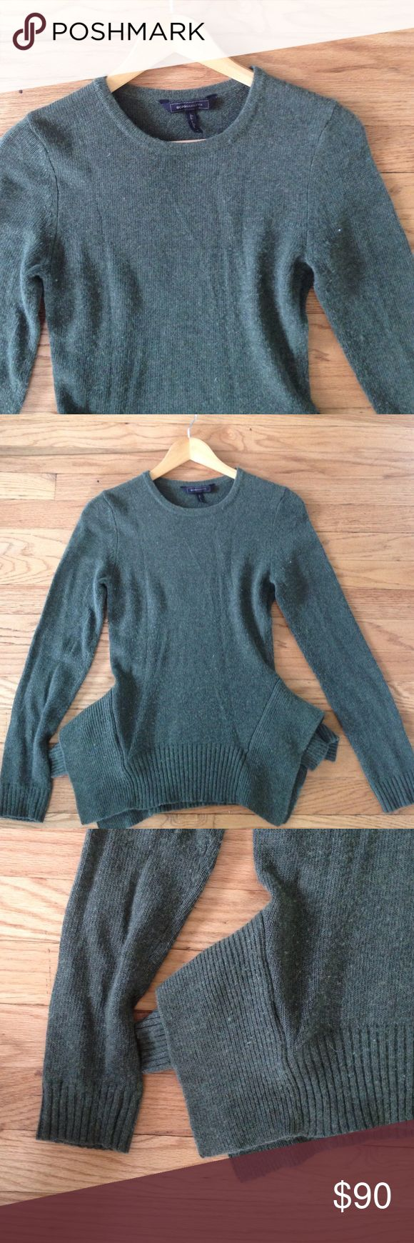 """BCBGMaxAzria Loretta Peplum Sweater Loden Small BCBGMaxAzria Loretta Peplum Sweater in Loden color. A deep olive green. Size Small, 15"""" armpit to armpit, 24"""" shoulder to hem, 24.5"""" shoulder to cuff. Viscose/nylon/cotton/lambs wool/angora/cashmere. Some light pilling. A gorgeous and unique sweater! No trades, bundle discount available! BCBGMaxAzria Sweaters Crew & Scoop Necks"""