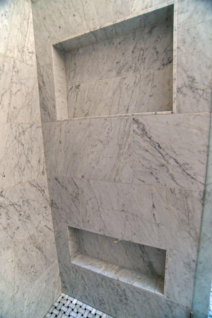 Small Marble Master Bathroom
