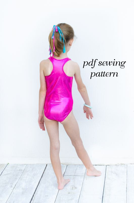 Laura leotard pattern pdf sewing pattern racerback swimsuit and leotards in girls sizes 2-14 years