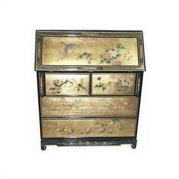 Oriental Furniture Chinese Gold Leaf Secretary Desk