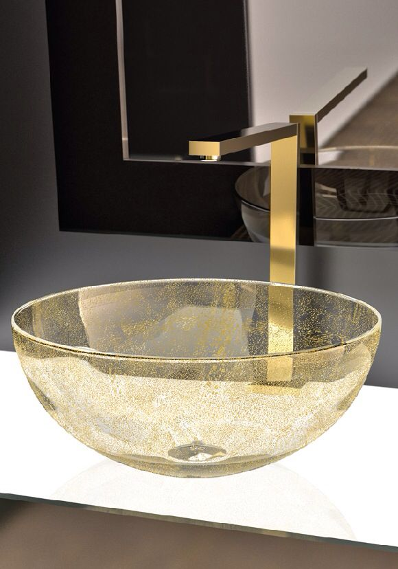 Luxury gold leaf design hand basin by Maestro made in Italy