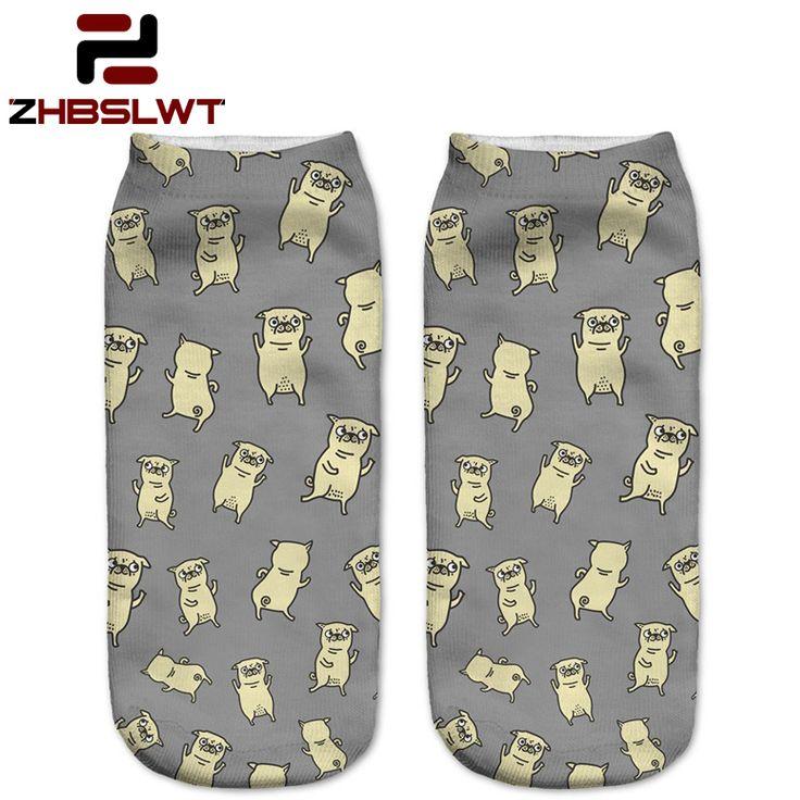 ZHBSLWT Baru Beberapa Warna Harajuku Style 3D Dicetak Wanita Socks Low Cut Ankle Kaus Kaki Kaus Kaki Tari Pugs wanita Kasual-LJ