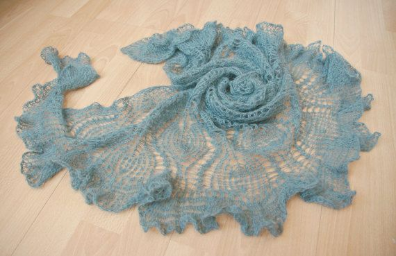Mohair lace shawl hand knitted lightweight grey shawl warm delicate soft airy…