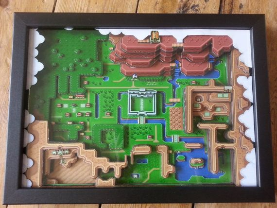 Legend of Zelda: A Link to The Past Hyrule Map - 3D Paper Diorama A4 - Retro Classic Video Game Art