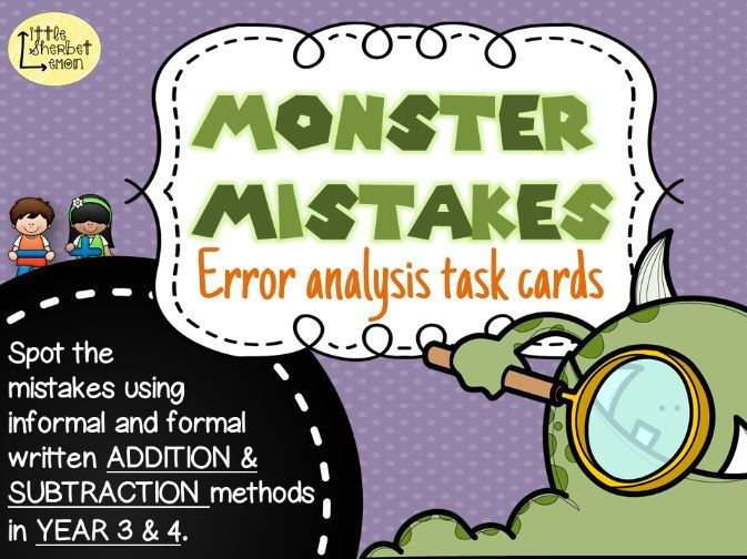Error Analysis / Spot the Mistake Task Cards for Written Addition & Subtraction Methods Yr 3 & 4