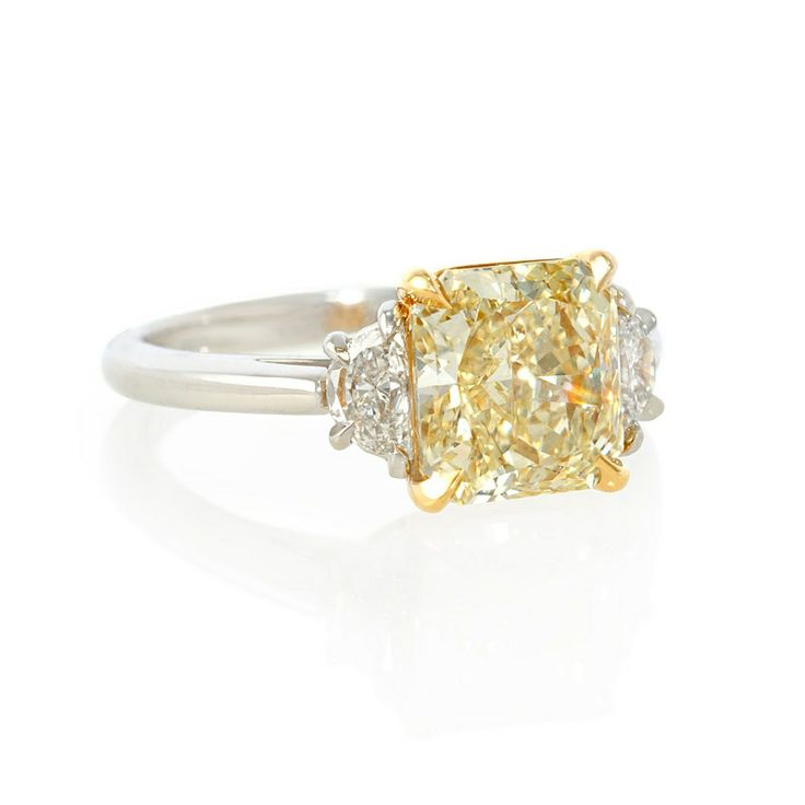2 carat fancy yellow diamond platinum engagement ring roll over image for zoom