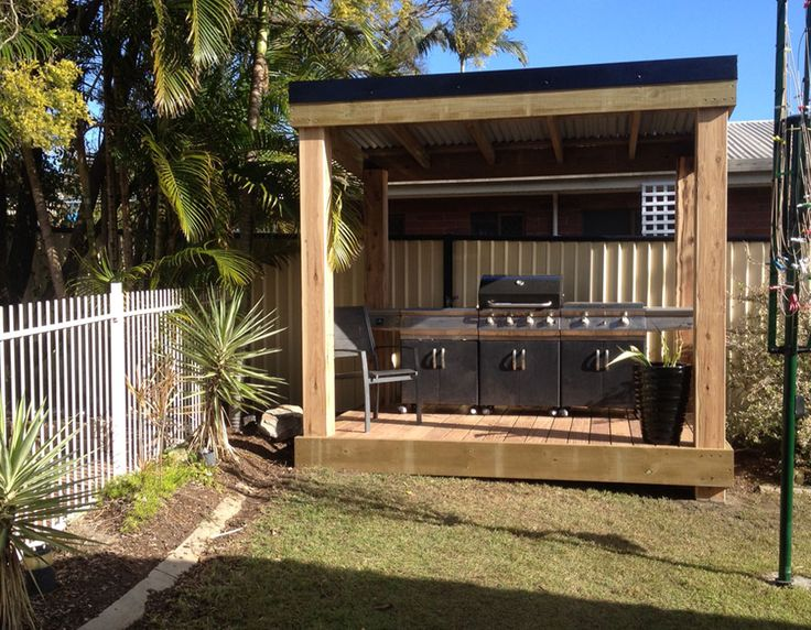 BBQ area, instantly transform your backyard with a colorbond pergola with deck for entertaining - 3m x 3m Pergola