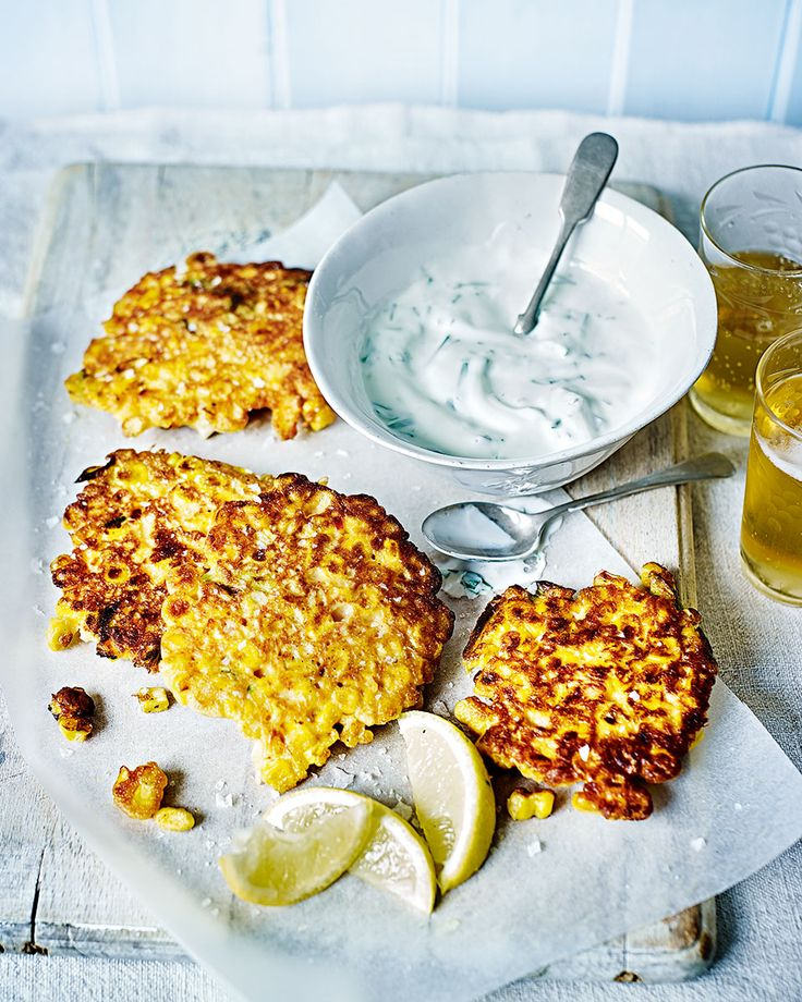 Smoky sweetcorn fritters are vegetarian food done right – served warm from the pan with a dollop of tarragon yogurt and a crisp salad.