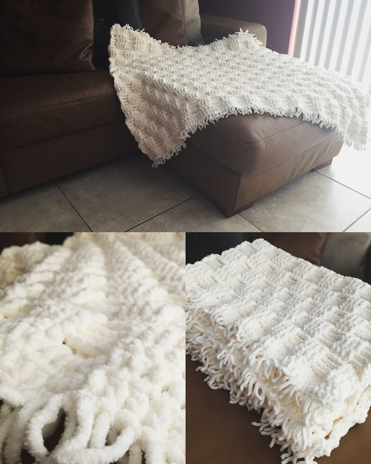 Soft and Chunky Bernat Baby blanket with crochet basket weave pattern