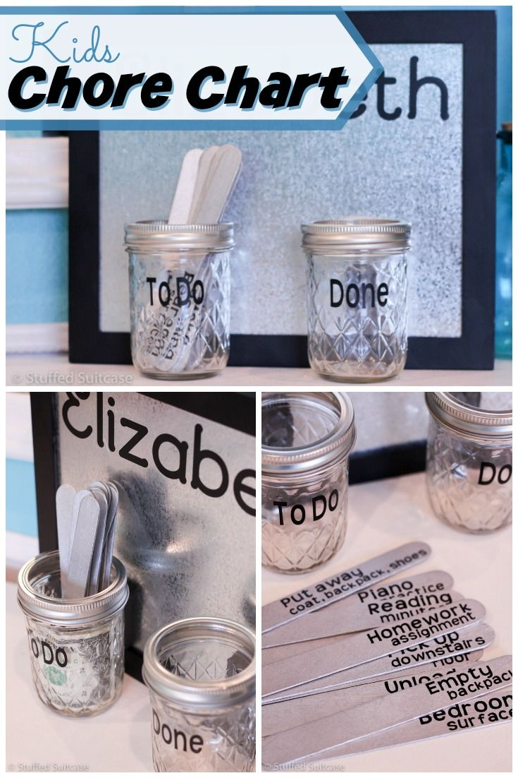 Create this fun and modern kids chore chart system with mason jars and popsicle sticks - great way to manage kids' daily chores and reward them for finishing! StuffedSuitcase.com