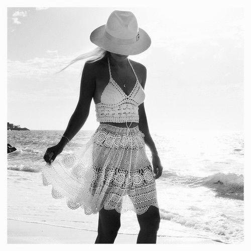 пляж, чёрно-белое, бохо, девушка, шляпа, хиппи, океан, море, юбка, стиль, лето, загар, топ