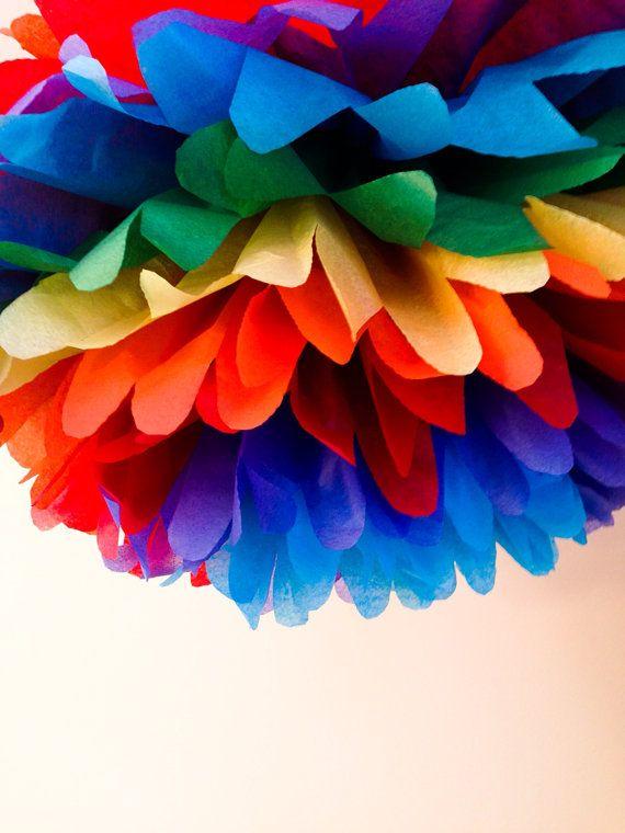 1 rainbow tissue paper pom poms pompomsparty poms by TamsCorner, $5.59