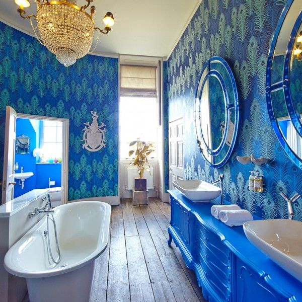 The bathroom. Click to see more inside the bridal suite designed by Matthew Williamson at Aynhoe Park.