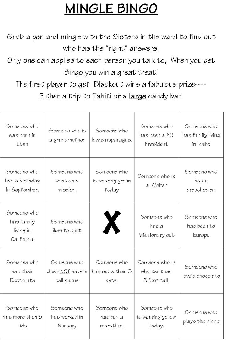 """Mingle Bingo do with Relay items like """"someone that has raised $1,000 etc - @Denise H. Goccia Maybe for an ice breaker for Relay?"""
