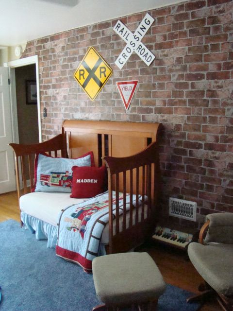train bedroom decor | Master Madden's Room, I design a vintage train station room for my two ...