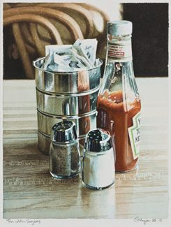Tin with Sugars by Ralph Goings - Thomas Paul Fine Art.  Watercolor on paper.