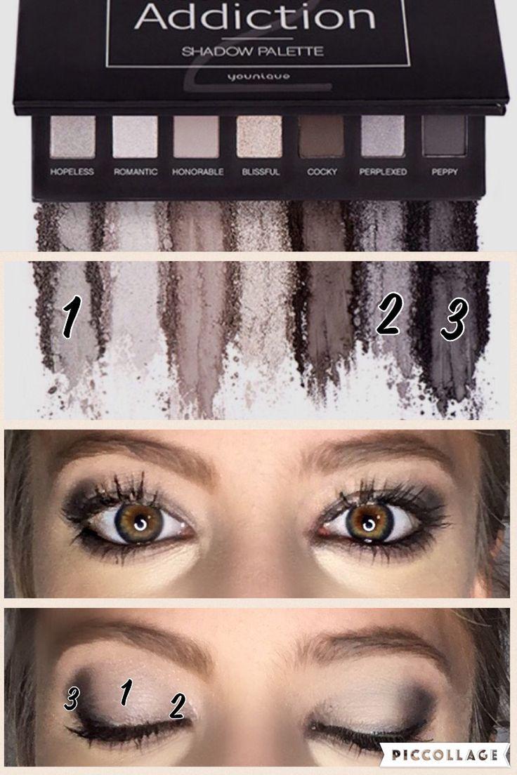 Younique smokey eye Addiction Palette 2. Makeup, eyeshadow, eyelashes, eyebrows, fiberlash.