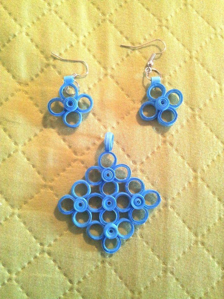 orecchini blu quilling