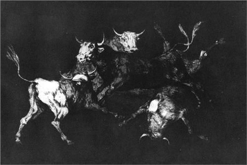 Lluvia de toros o Disparate de toritos  - Francisco de Goya