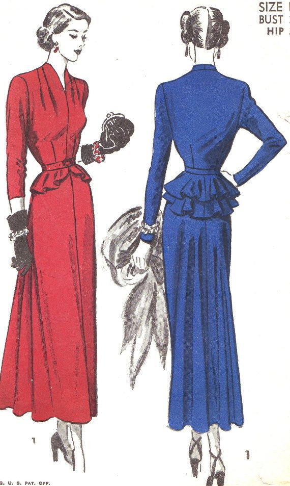 Vintage Sewing Pattern 1940s Advance 4988 Evening Gown Dress with Long Skirt and Detachable Peplum Size 14 Bust 32