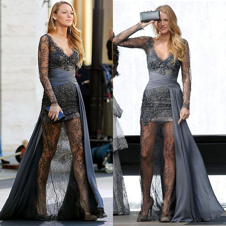 Dark Gray See-Trough Lace Gossip Girl Serena Prom Dresses Long Sexy Mermaid Prom Dress Delicate Lace Dress Trends for Women