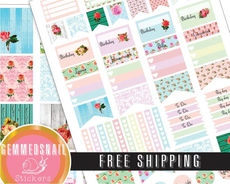 Shabby Chic planner stickers, FREE SHIPPING. includes full box planner stickers fits Erin Condren planners