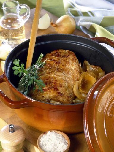 Recette de Rôti de porc moutardé en cocotte