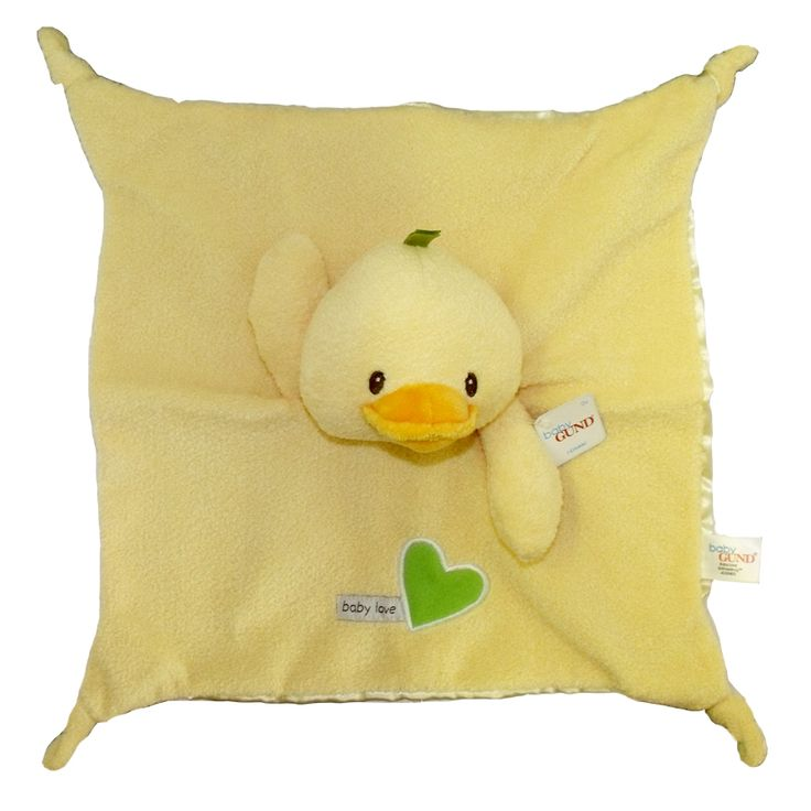This cute Yellow Duck baby comforter is brought to you by Baby Gund. A fluffy soft front and a smooth and silky back create different textures.
