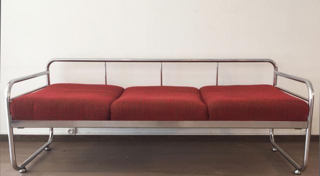 Slezak Zavody. Czech Tubular Modernist Bauhaus Sofa. 1930s