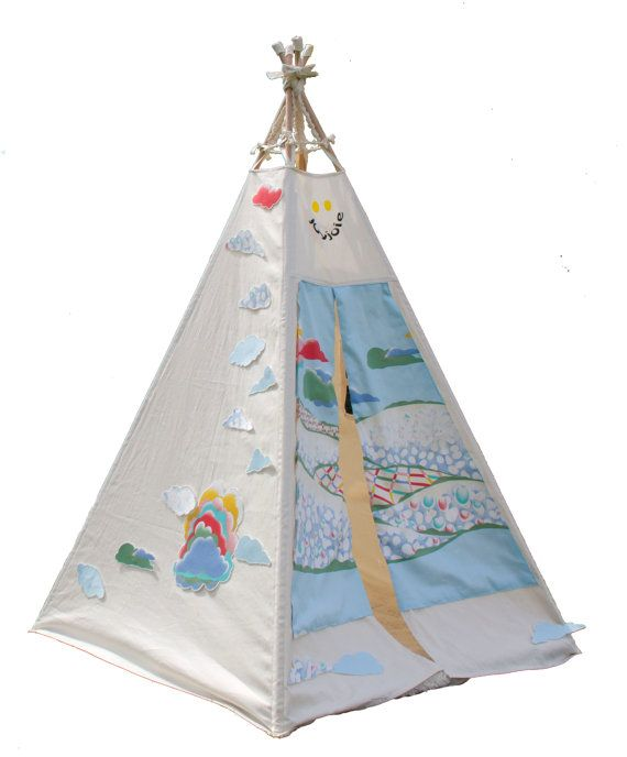 Teepee Tent in cloud theme wall art - As Seen in Studio Bambini Magazine. $240.00, via Etsy.