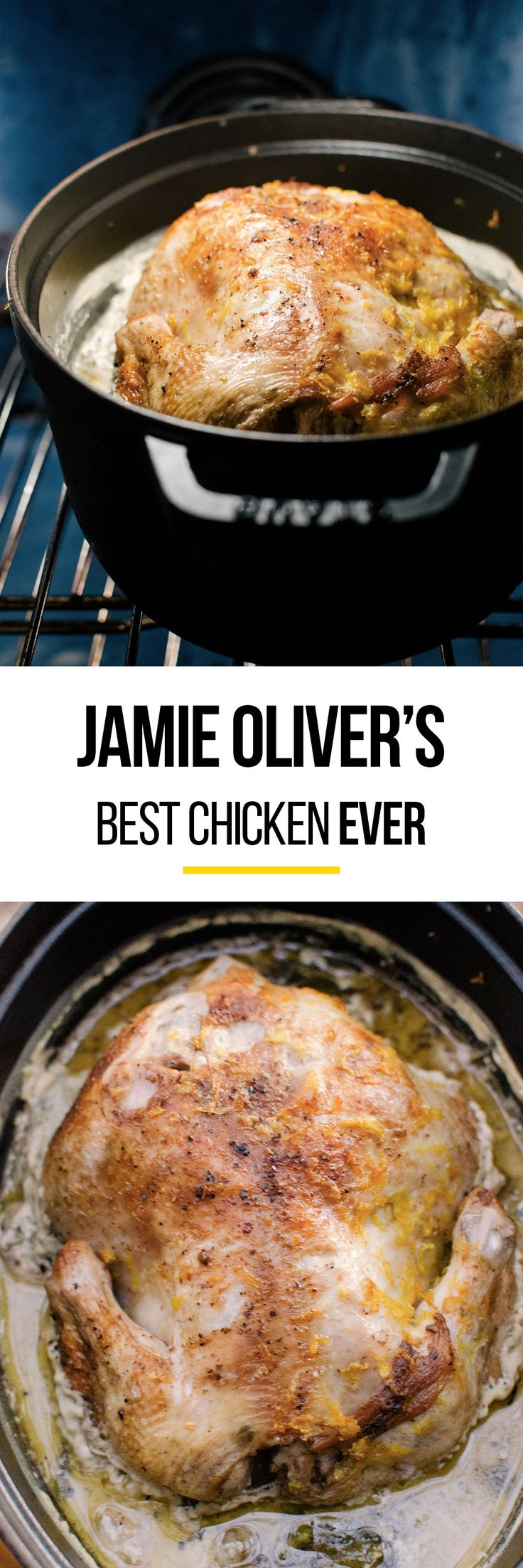 Jamie Oliver's Chicken in Milk Is Probably the Best Chicken Recipe of All Time. This EASY recipe is perfect comfort food for cold weather. Great if you're looking for meals and ideas to cook in you dutch oven! This braised chicken is so moist and tender, flavored with lemon and simple spices -- your whole family will love it!