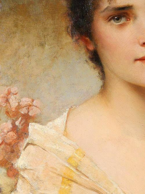 Minden virágban egy nő szépsége lázad… CONRAD KIESEL (1846-1921): GIRL WITH FLOWERS (detail)